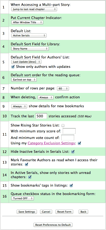 screen shot of the library's preferences pane